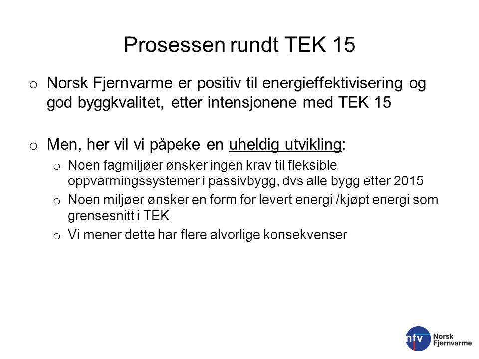 Prosessen rundt TEK 15 Norsk Fjernvarme er positiv til energieffektivisering og god byggkvalitet, etter intensjonene med TEK 15.