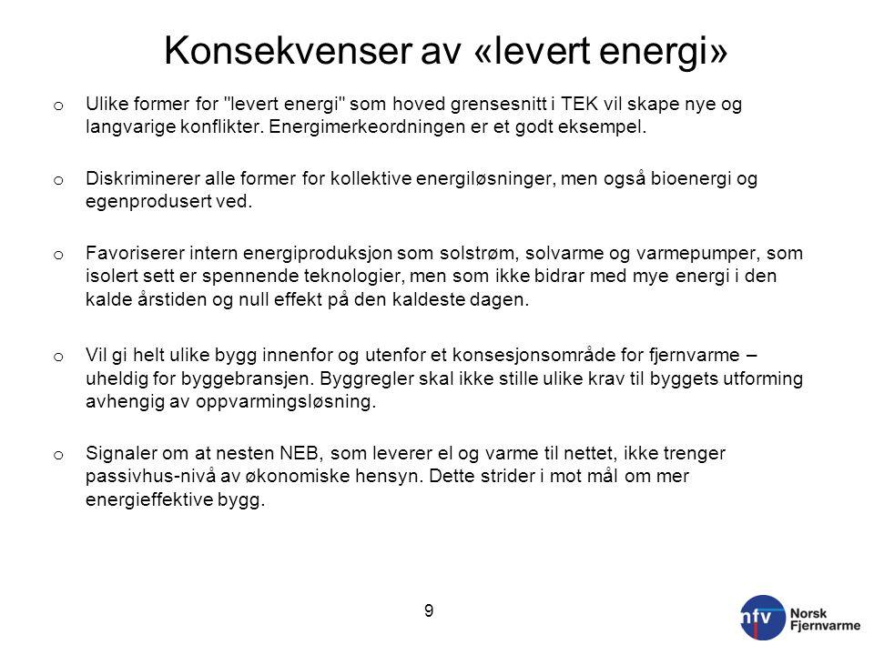 Konsekvenser av «levert energi»