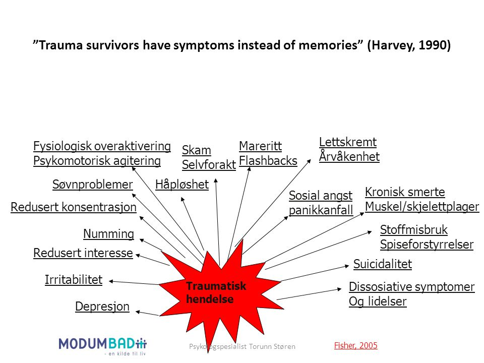 Trauma survivors have symptoms instead of memories (Harvey, 1990)