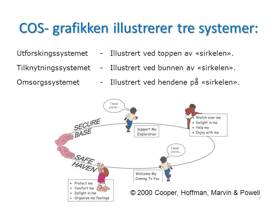 COS- grafikken illustrerer tre systemer: