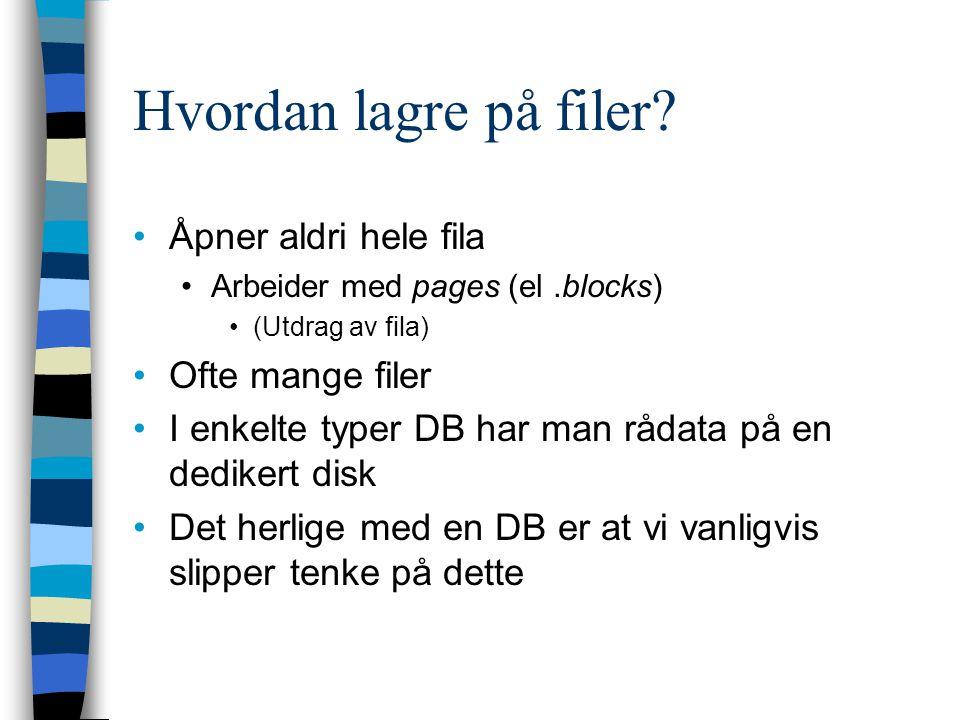 Hvordan lagre på filer Åpner aldri hele fila Ofte mange filer