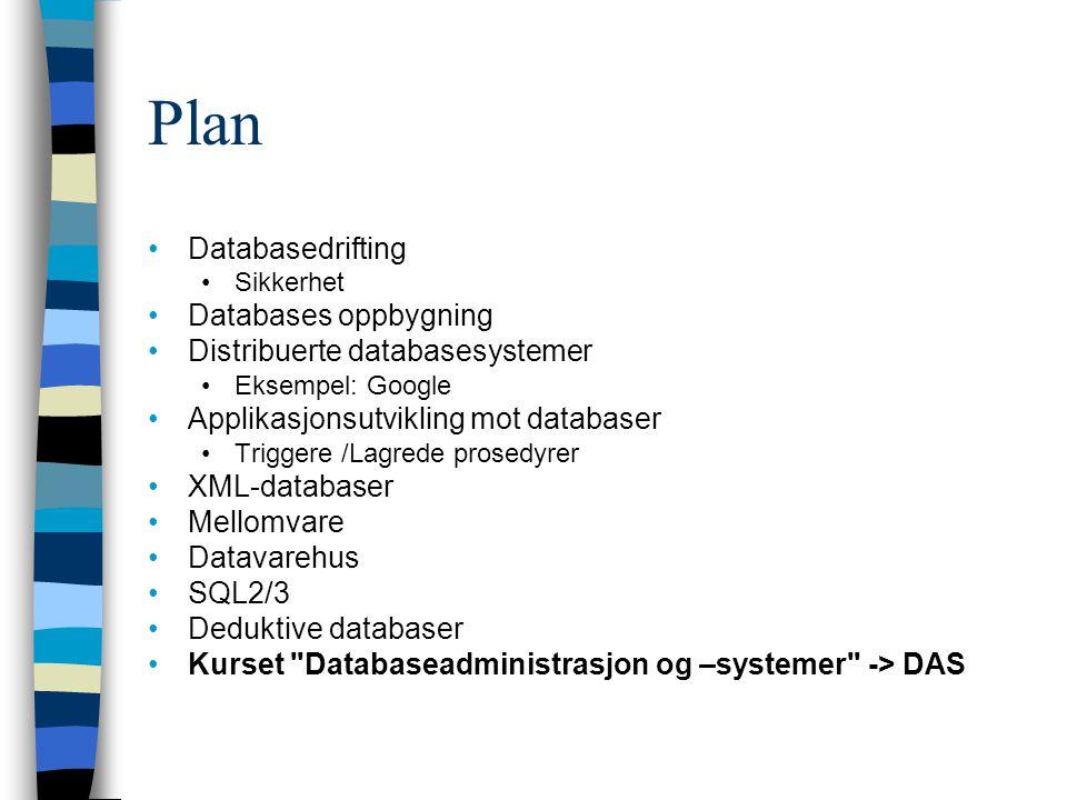 Plan Databasedrifting Databases oppbygning