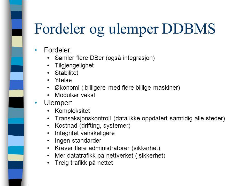 Fordeler og ulemper DDBMS