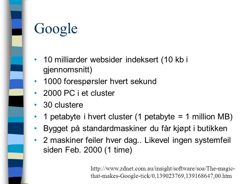 Google 10 milliarder websider indeksert (10 kb i gjennomsnitt)