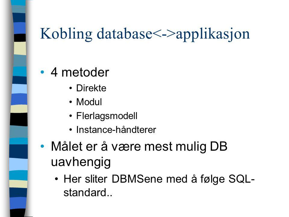 Kobling database<->applikasjon
