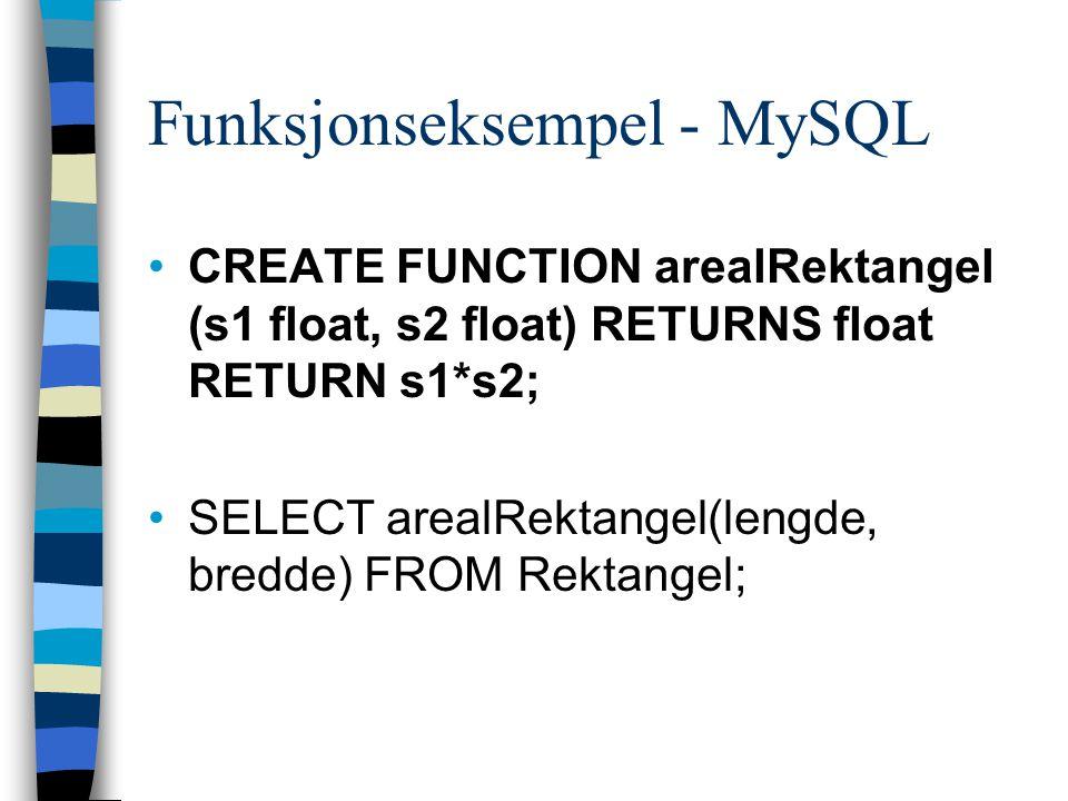 Funksjonseksempel - MySQL