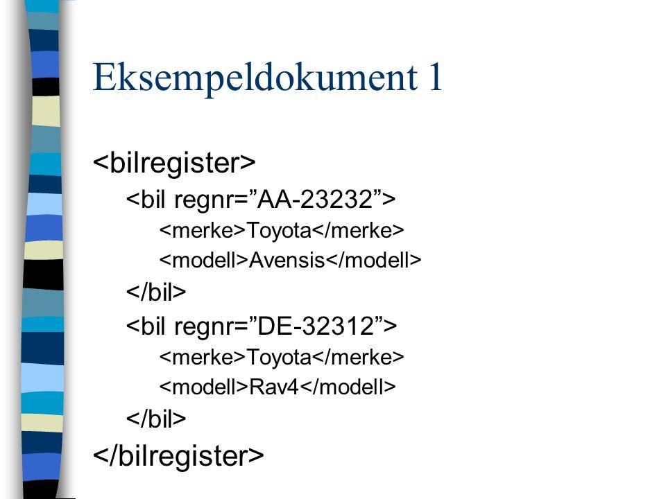 Eksempeldokument 1 <bilregister> </bilregister>