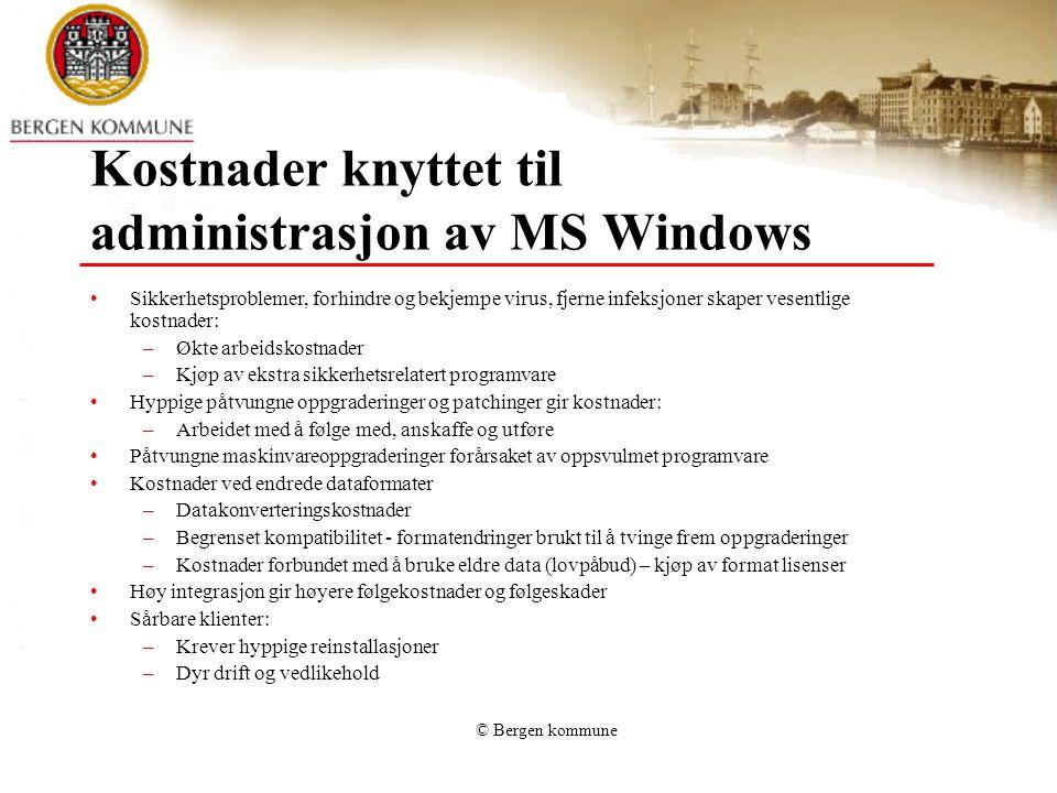 Kostnader knyttet til administrasjon av MS Windows
