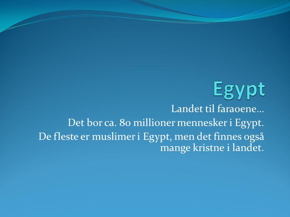 Egypt Landet til faraoene… Det bor ca. 80 millioner mennesker i Egypt.
