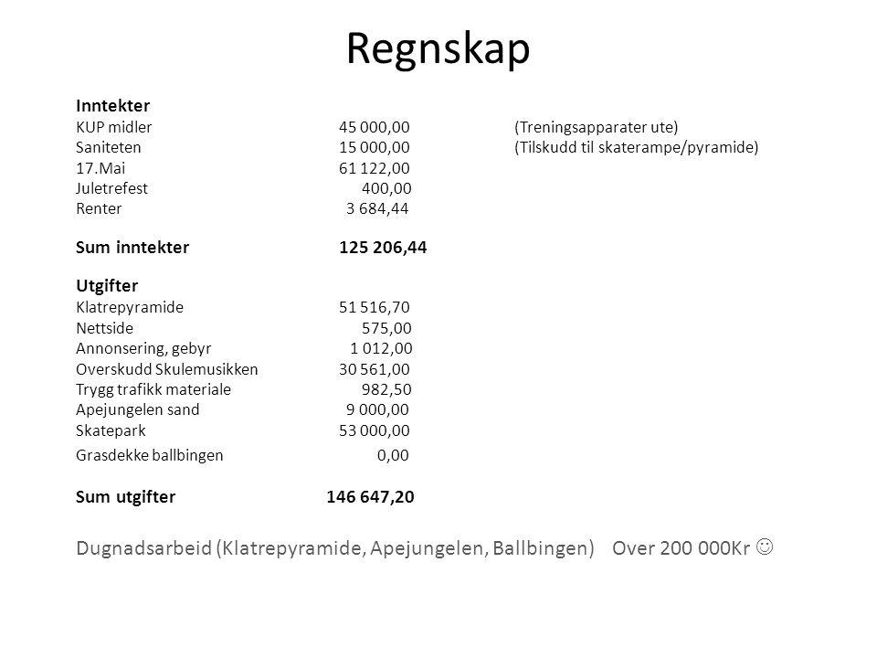 Regnskap Inntekter. KUP midler 45 000,00 (Treningsapparater ute) Saniteten 15 000,00 (Tilskudd til skaterampe/pyramide)