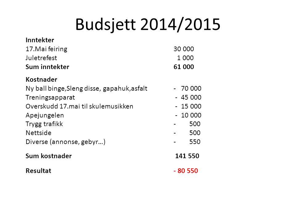 Budsjett 2014/2015 Inntekter 17.Mai feiring 30 000 Juletrefest 1 000