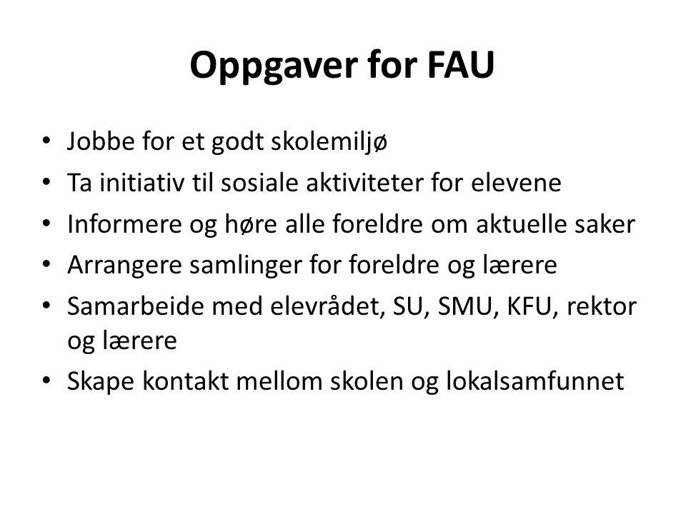 Oppgaver for FAU Jobbe for et godt skolemiljø