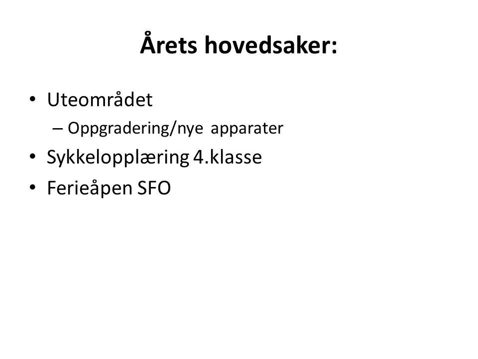 Årets hovedsaker: Uteområdet Sykkelopplæring 4.klasse Ferieåpen SFO