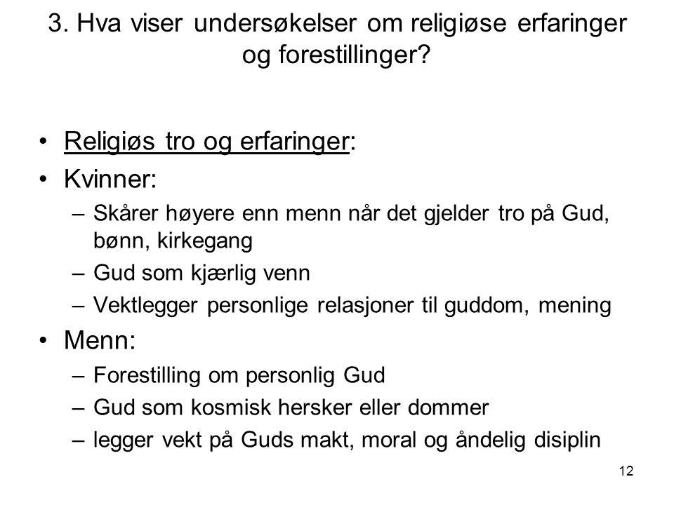 3. Hva viser undersøkelser om religiøse erfaringer og forestillinger
