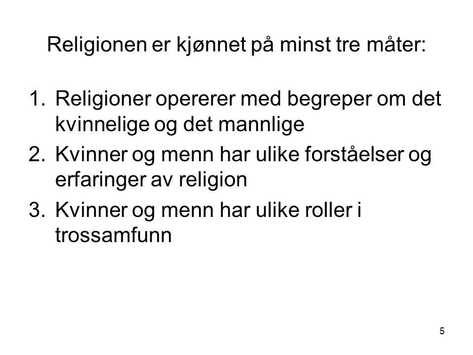 Religionen er kjønnet på minst tre måter:
