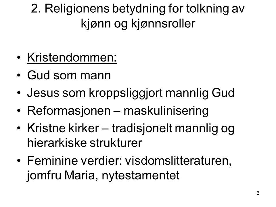 2. Religionens betydning for tolkning av kjønn og kjønnsroller