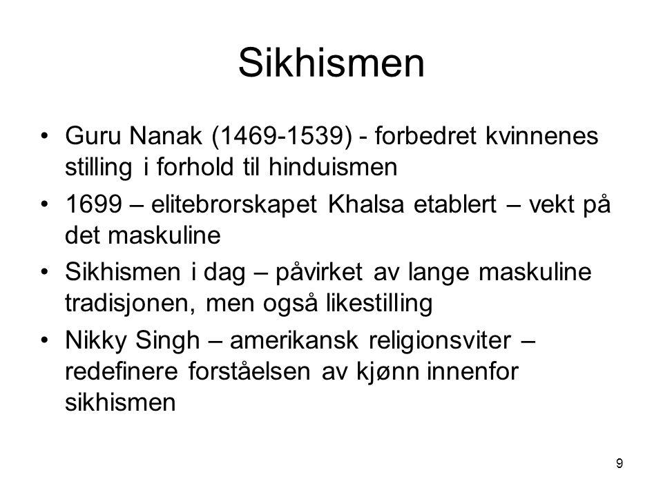 Sikhismen Guru Nanak (1469-1539) - forbedret kvinnenes stilling i forhold til hinduismen.
