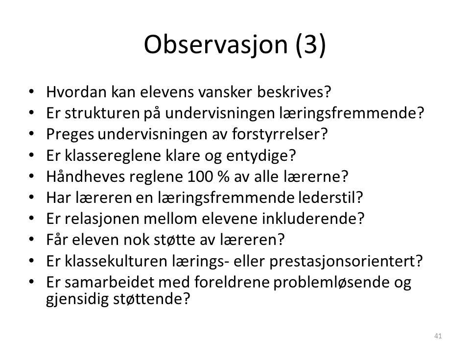 Observasjon (3) Hvordan kan elevens vansker beskrives