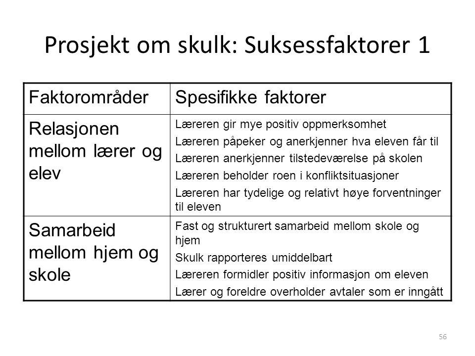 Prosjekt om skulk: Suksessfaktorer 1
