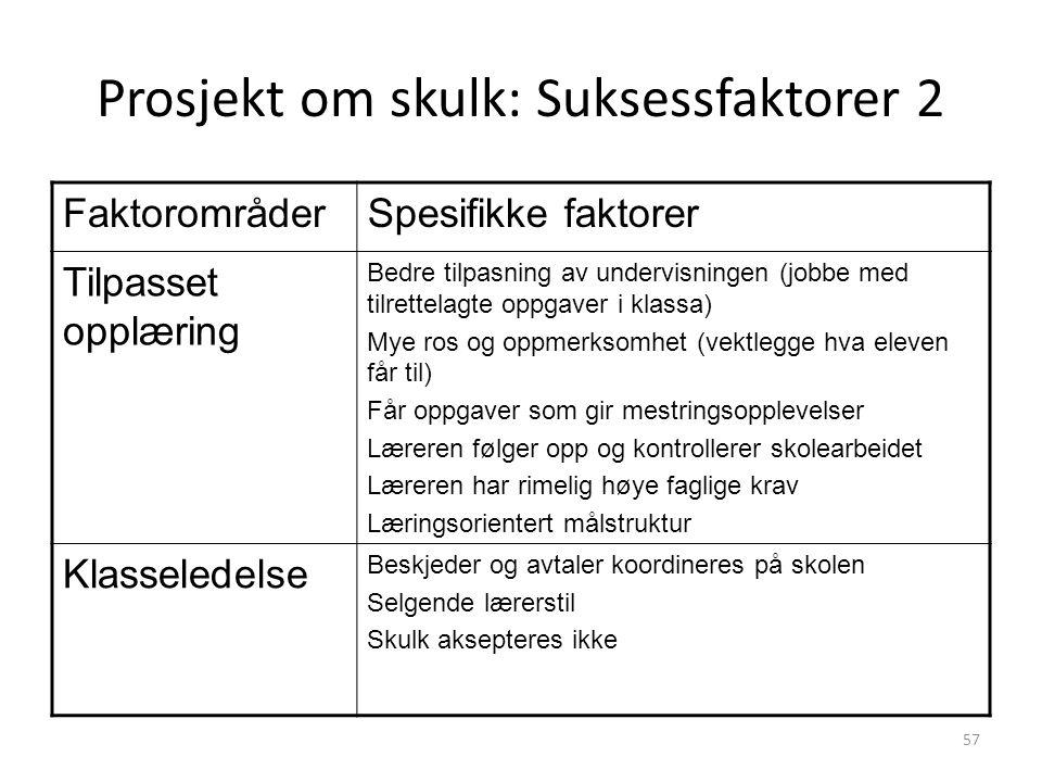 Prosjekt om skulk: Suksessfaktorer 2