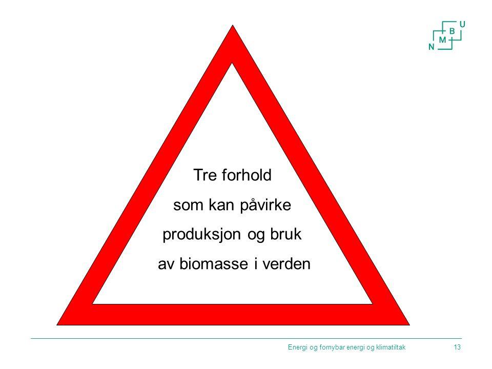 Tre forhold som kan påvirke produksjon og bruk av biomasse i verden