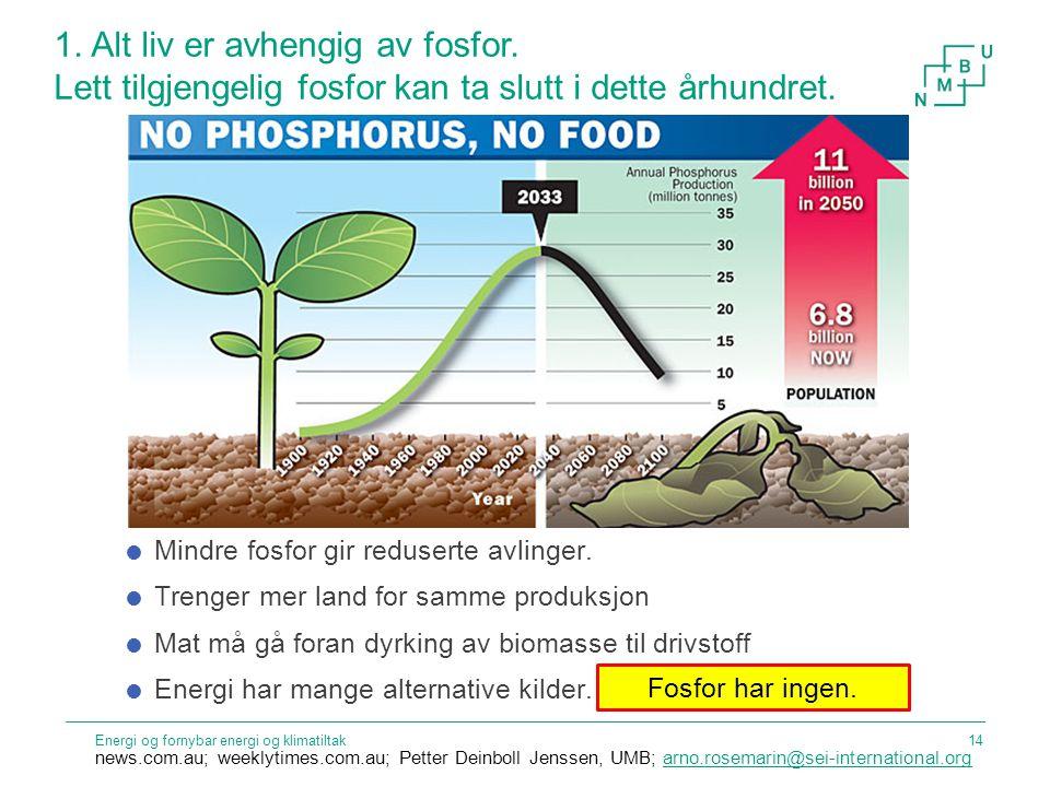 1. Alt liv er avhengig av fosfor