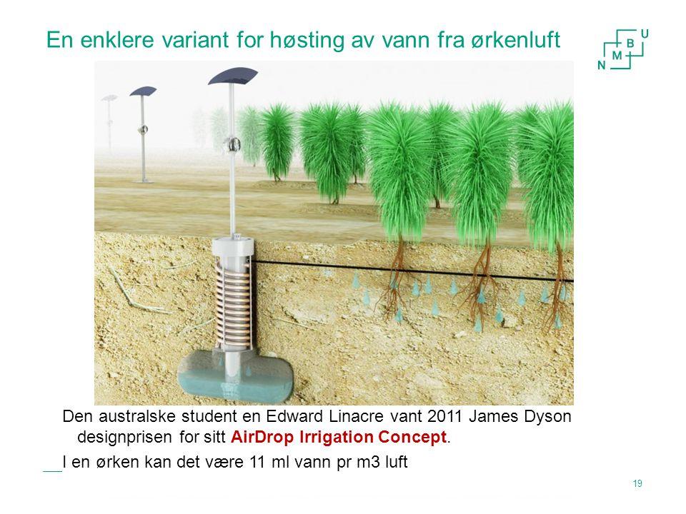 En enklere variant for høsting av vann fra ørkenluft