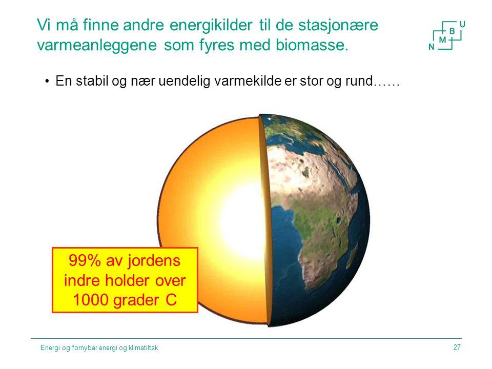 99% av jordens indre holder over 1000 grader C