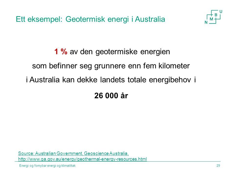 Ett eksempel: Geotermisk energi i Australia