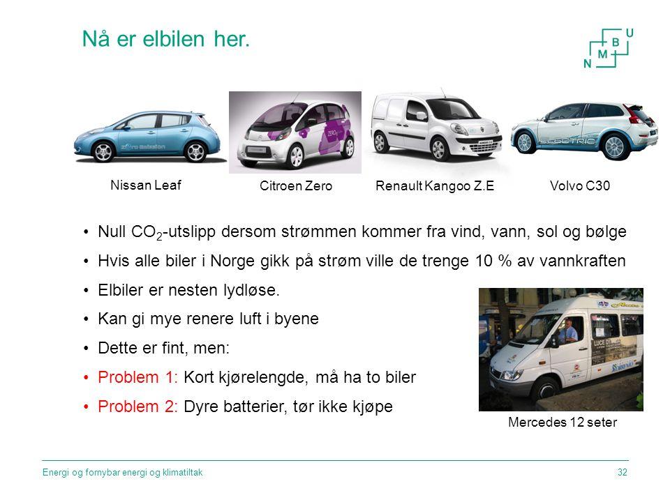 Nå er elbilen her. Nissan Leaf. Renault Kangoo Z.E. Citroen Zero. Volvo C30. Null CO2-utslipp dersom strømmen kommer fra vind, vann, sol og bølge.