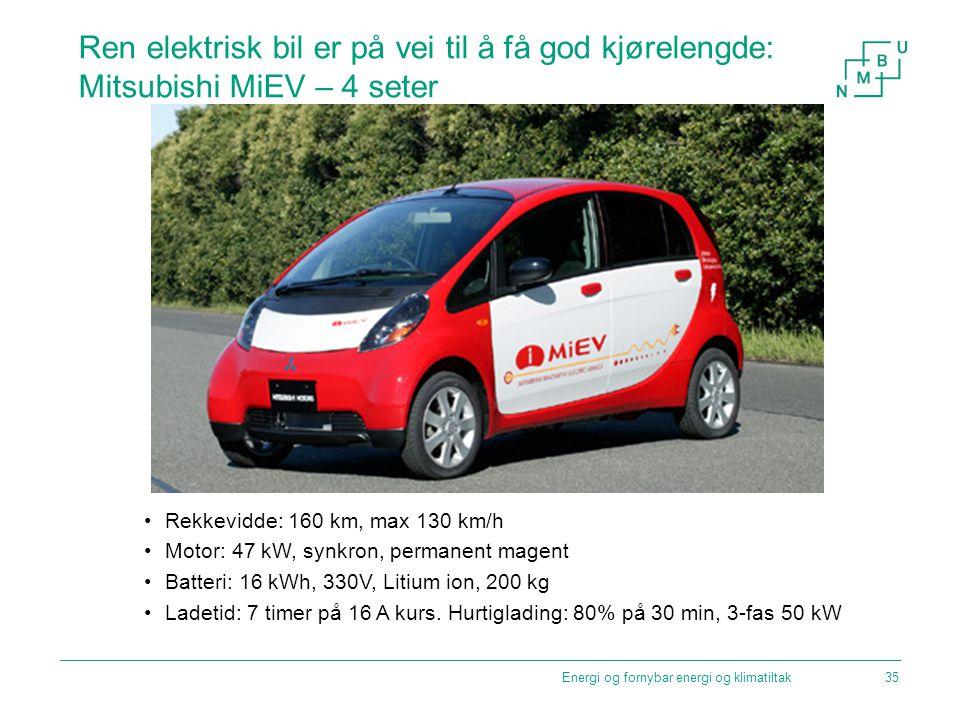 Ren elektrisk bil er på vei til å få god kjørelengde: Mitsubishi MiEV – 4 seter