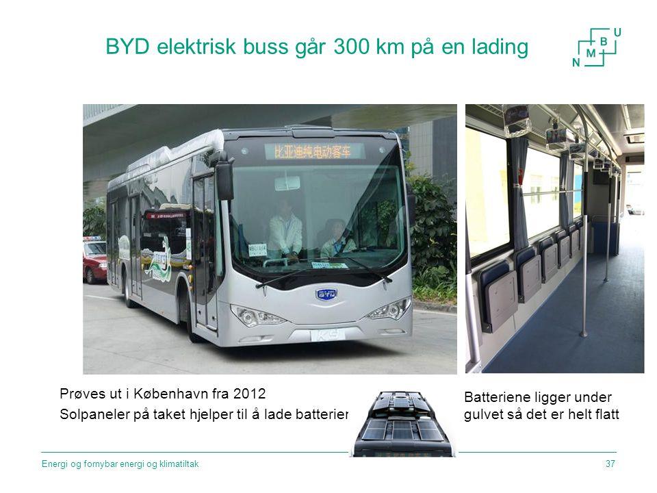 BYD elektrisk buss går 300 km på en lading