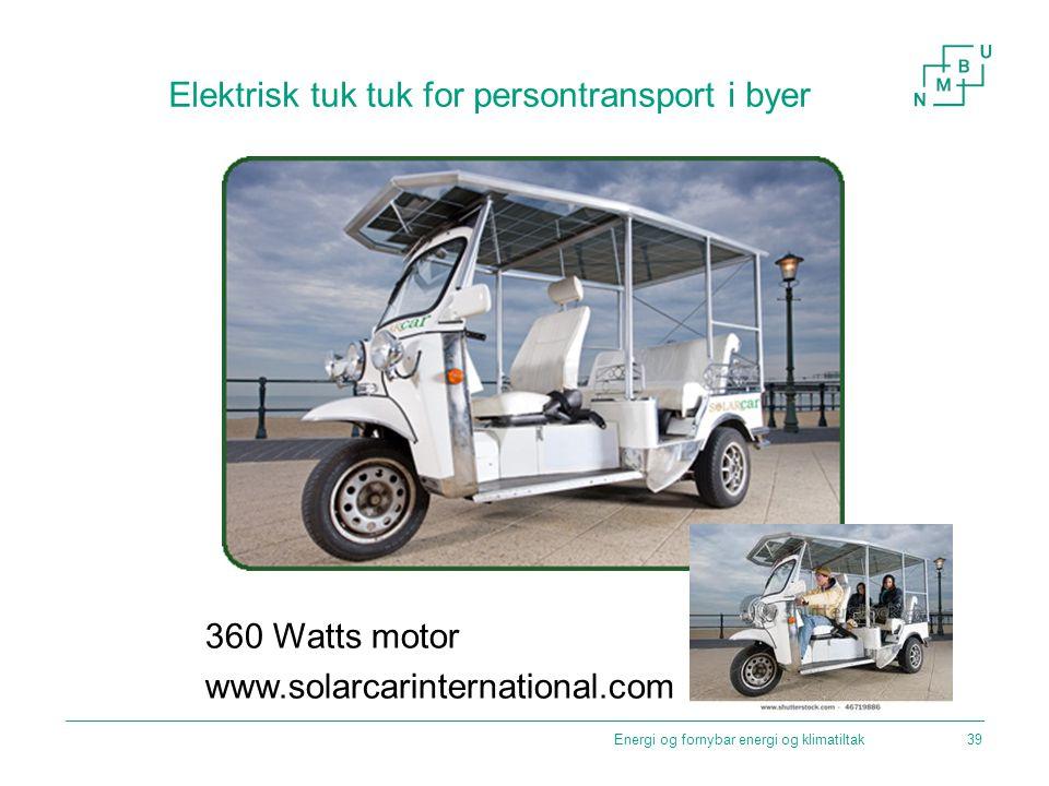 Elektrisk tuk tuk for persontransport i byer