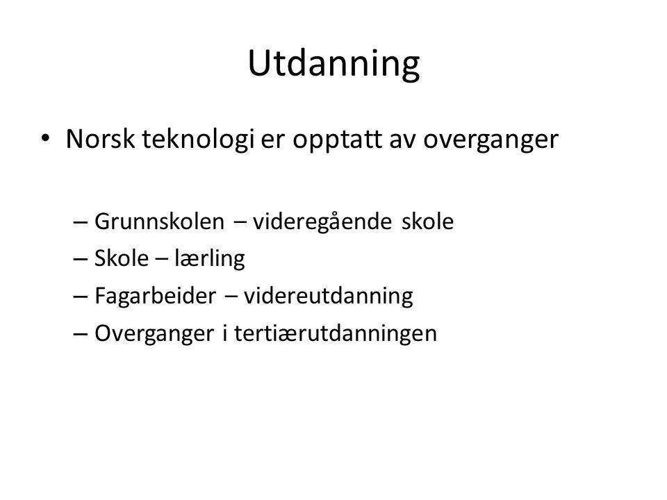 Utdanning Norsk teknologi er opptatt av overganger
