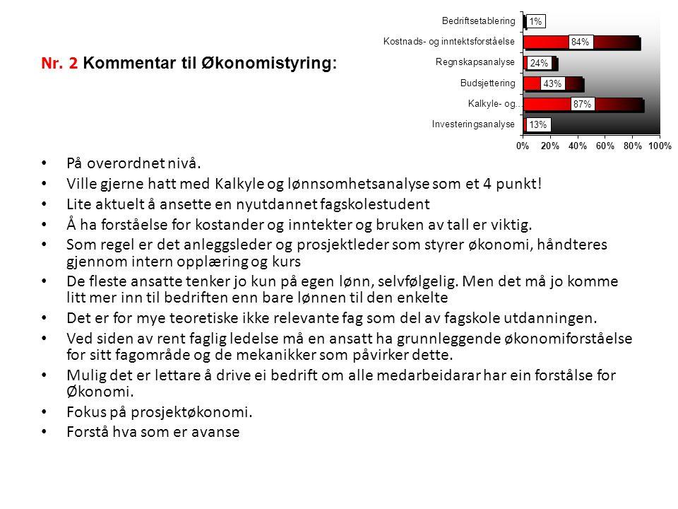 Nr. 2 Kommentar til Økonomistyring:
