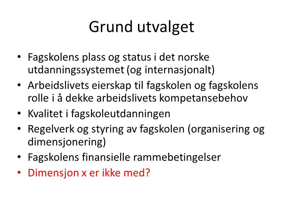 Grund utvalget Fagskolens plass og status i det norske utdanningssystemet (og internasjonalt)