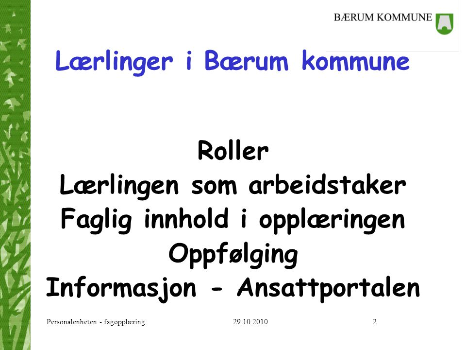 Lærlinger i Bærum kommune