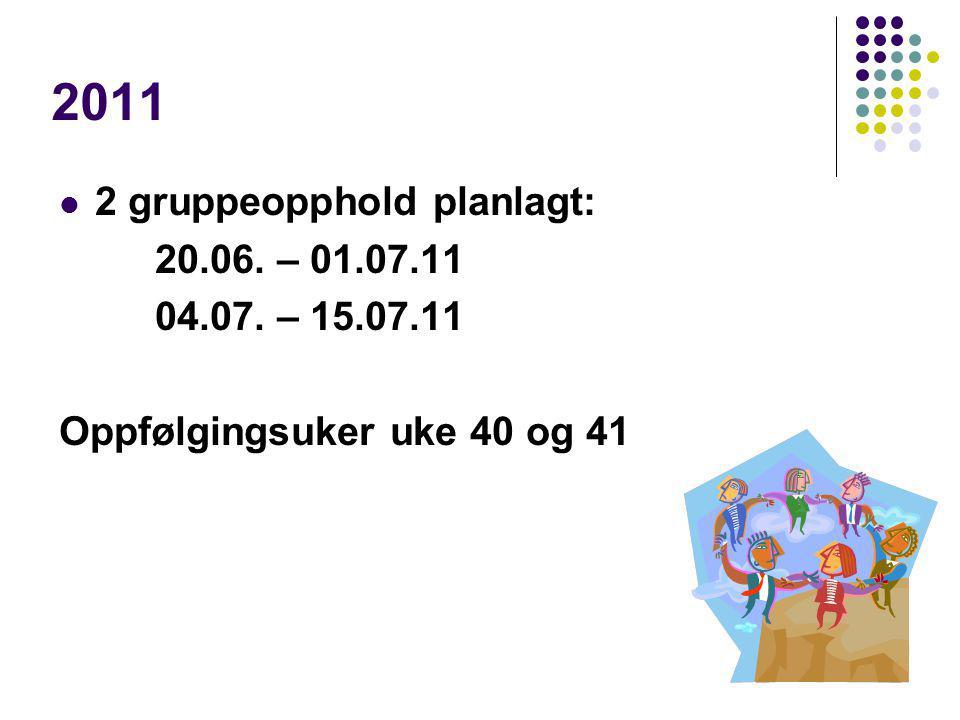 2011 2 gruppeopphold planlagt: 20.06. – 01.07.11 04.07. – 15.07.11