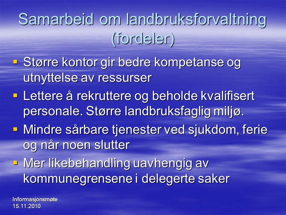Samarbeid om landbruksforvaltning (fordeler)