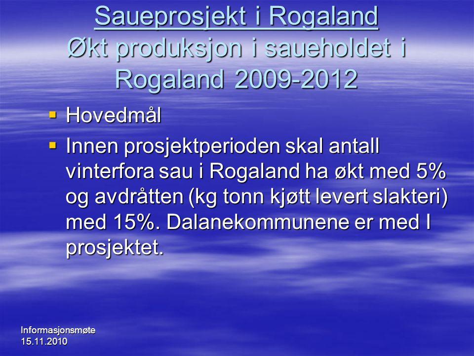 Saueprosjekt i Rogaland Økt produksjon i saueholdet i Rogaland 2009-2012