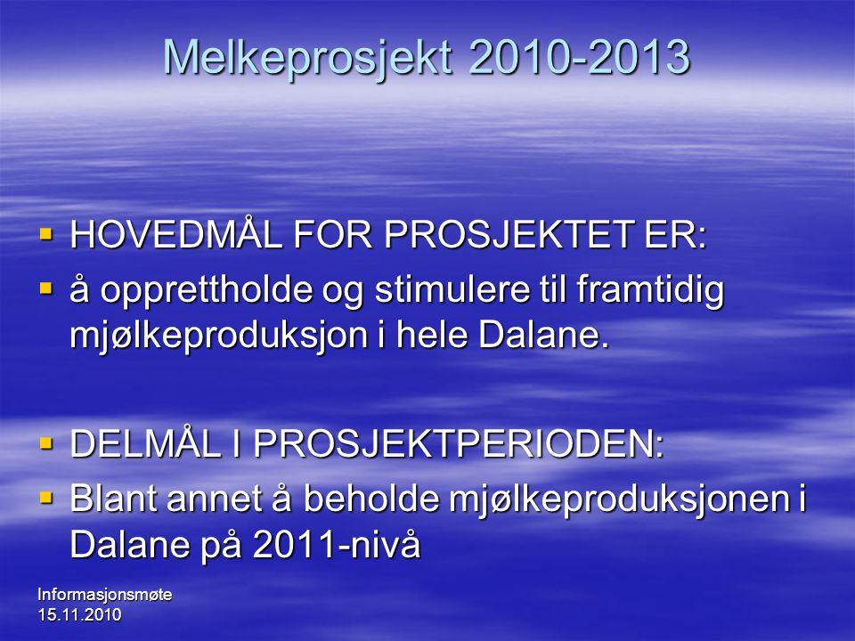 Melkeprosjekt 2010-2013 HOVEDMÅL FOR PROSJEKTET ER: