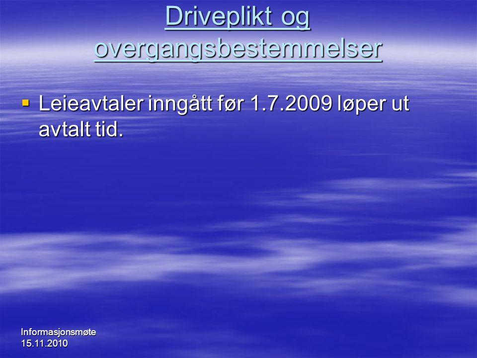Driveplikt og overgangsbestemmelser
