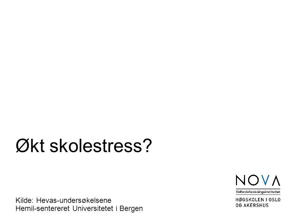 Økt skolestress Kilde: Hevas-undersøkelsene Hemil-sentereret Universitetet i Bergen