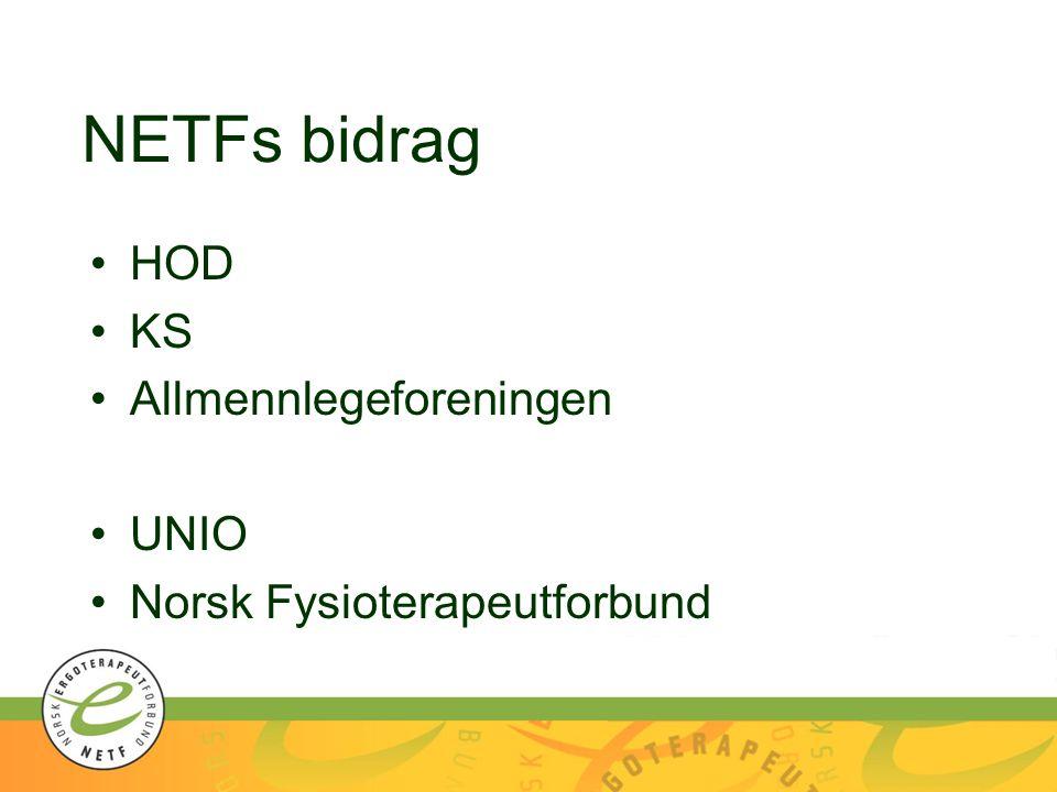 NETFs bidrag HOD KS Allmennlegeforeningen UNIO