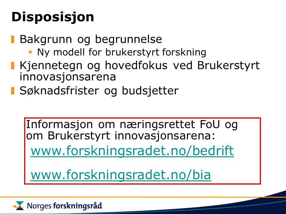 Disposisjon www.forskningsradet.no/bedrift www.forskningsradet.no/bia