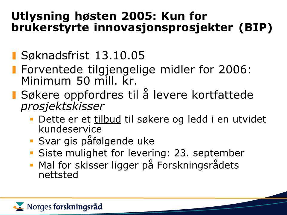 Forventede tilgjengelige midler for 2006: Minimum 50 mill. kr.