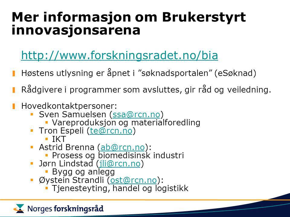 Mer informasjon om Brukerstyrt innovasjonsarena
