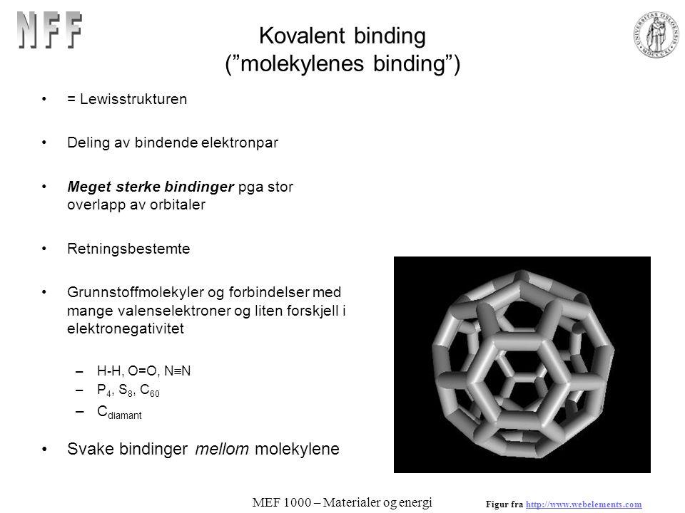 Kovalent binding ( molekylenes binding )