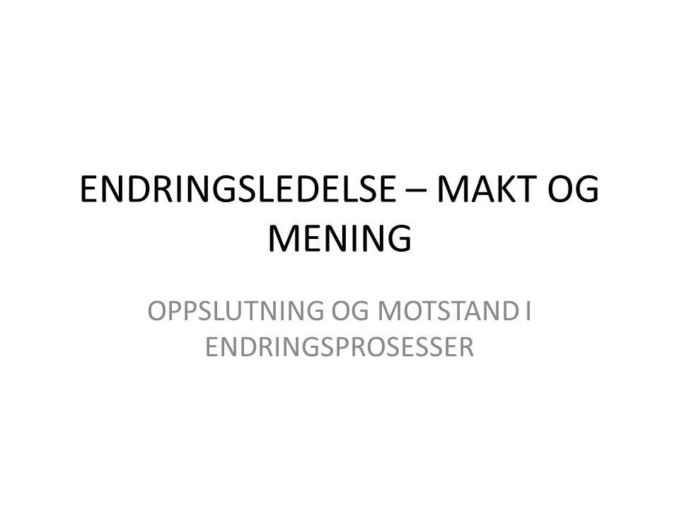 ENDRINGSLEDELSE – MAKT OG MENING