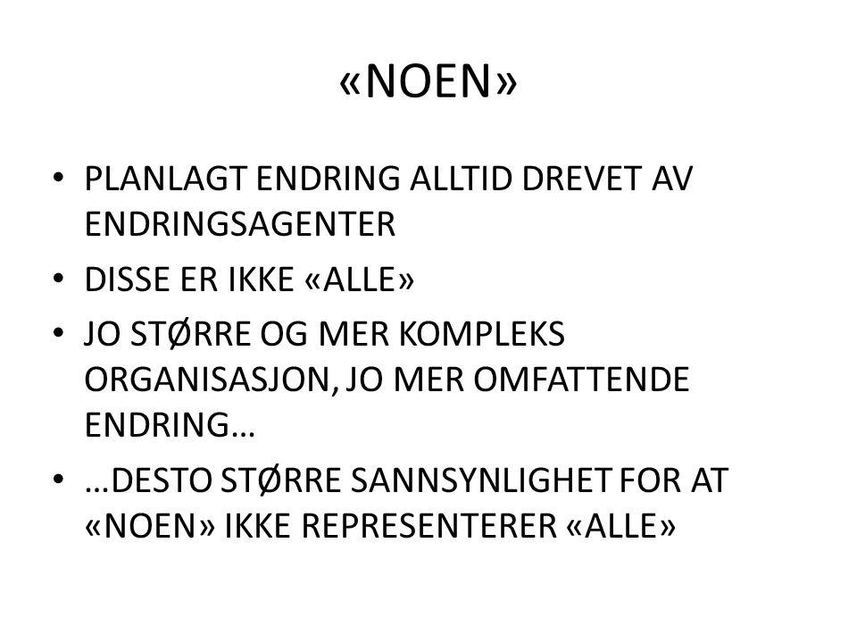 «NOEN» PLANLAGT ENDRING ALLTID DREVET AV ENDRINGSAGENTER